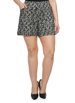 Plus Size Printed Cuffed Shorts - 1820020626556