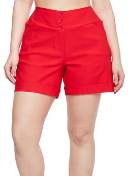 Plus Size Solid Cuffed Casual Shorts - 1820020626677