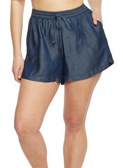 Plus Size Chambray Drawstring Shorts - DARK WASH - 1820051061467