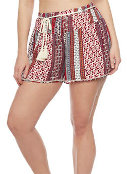 Plus Size Printed Shorts with Rope Belt - 1820051061566