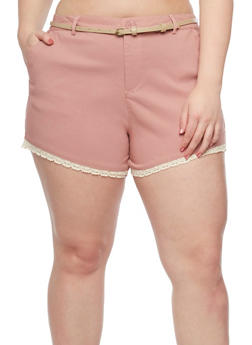 Plus Size Solid Crochet Trimmed Shorts with Belt - 1820054263275