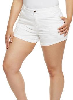 Plus Size Stretch Twill Shorts - WHITE - 1820054265603