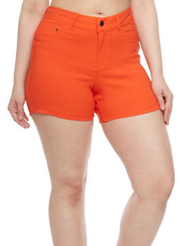 Plus Size Hyper Stretch High Waisted Shorts - 1820056571991