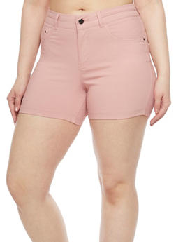 Plus Size Hyper Stretch High Waisted Shorts - BLUSH - 1820056571991