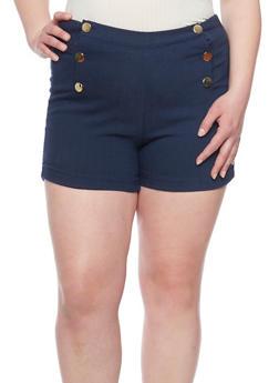 Plus Size Sailor Shorts with Faux Back Slit Pockets - 1820056572211