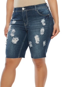 Plus Size Highway Jeans Distressed Bermuda Shorts - 1820071315009
