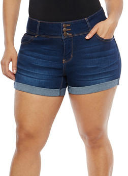 Plus Size WAX High Waisted Jean Shorts - 1820071610032