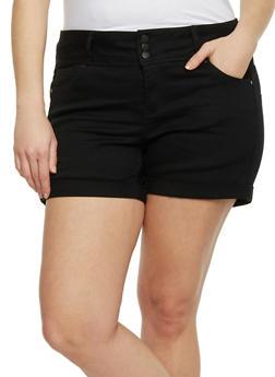 Plus Size WAX Cuffed Jean Shorts - 1820071610070