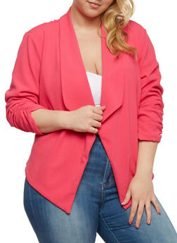Plus Size Open Front Blazer with Ruched Sleeves - 1821020626568