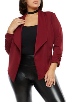 Plus Size Ruched Sleeve Blazer - 1821020627562