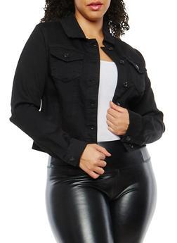 Plus Size WAX Jean Jacket - 1821071619017