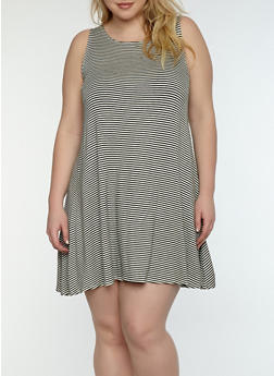 Plus Size Striped Shift Dress - 1822020620556