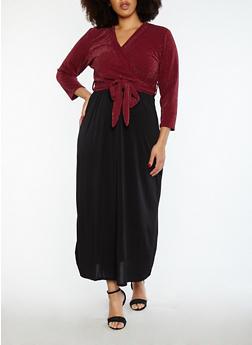 Plus Size Faux Wrap Shimmer Dress - 1822020622127