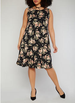 Plus Size Floral Swing Dress with Keyhole Back - 1822020622254