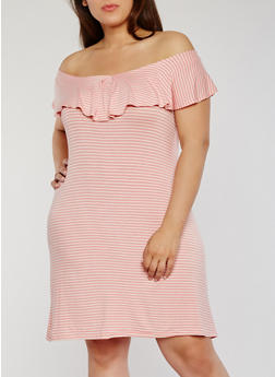 Plus Size Striped Off the Shoulder Dress with Ruffle Overlay - 1822020623156