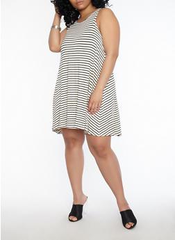 Plus Size Striped Shift Dress - 1822020625561