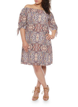 Plus Size Paisley Off the Shoulder Shift Dress with 3/4 Tie Sleeves - 1822020625600