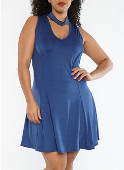 Plus Size Choker Neck Skater Dress - 1822020625665