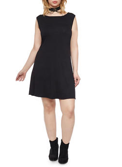Plus Size Sleeveless Scoop Neck T Shirt Dress - BLACK - 1822020626452