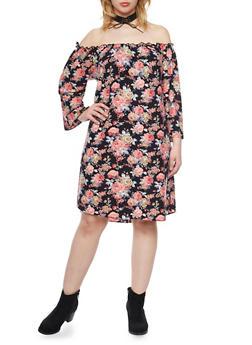 Plus Size Elastic Off the Shoulder Floral Dress - 1822020626456