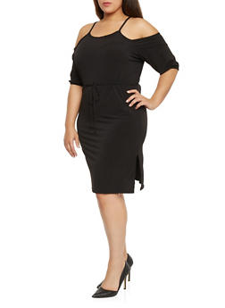 Plus Size Mid Length Cold Shoulder Dress - BLACK - 1822020626548