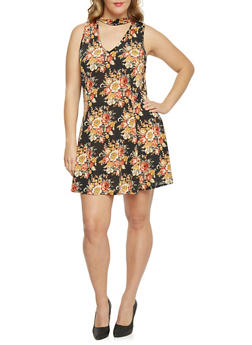 Plus Size Sleeveless Floral Keyhole Skater Dress - 1822020626614