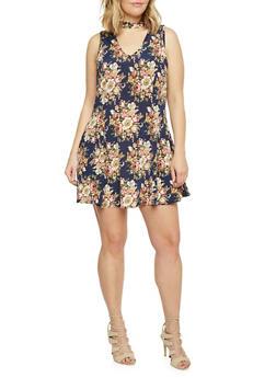 Plus Size Sleeveless Floral Keyhole Skater Dress - 1822020626614