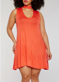 Plus Size Sleeveless Solid Keyhole Choker Dress - 1822020628464