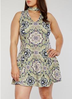 Plus Size Printed Choker Skater Dress - 1822020629756