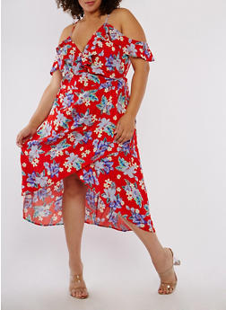 Plus Size Floral High Low Wrapped Dress - 1822051060534