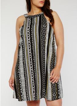 Plus Size Sleeveless Printed Trapeze Dress - BLK/WHT/YELLOW - 1822051062292