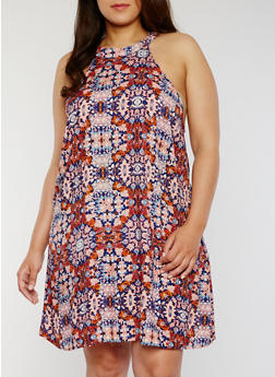 Plus Size Sleeveless Printed Trapeze Dress - NAVY/CORAL - 1822051062292