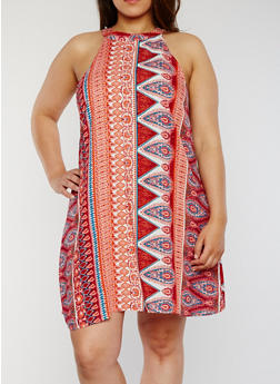 Plus Size Sleeveless Printed Trapeze Dress - PARSLEY ORANGE - 1822051062292