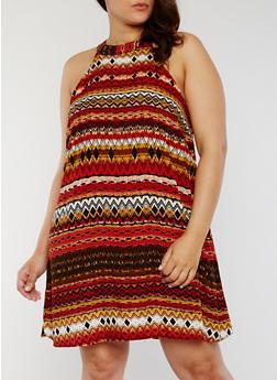 Plus Size Sleeveless Printed Trapeze Dress - RUST - 1822051062292