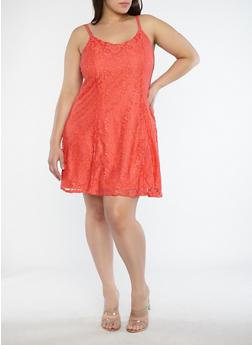 Plus Size Multi Strap Lace Shift Dress - 1822051062501