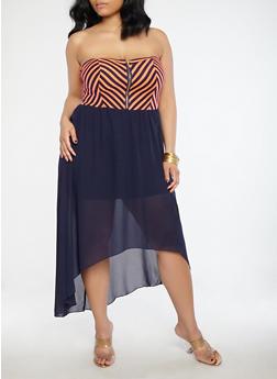 Plus Size Stripe Zipper High Low Dress - 1822051062588