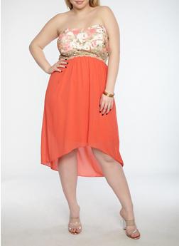 Plus Size Floral Bodice High Low Dress - 1822051062645