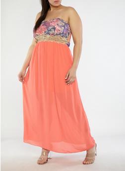 Plus Size Strapless Maxi Dress - 1822051062646