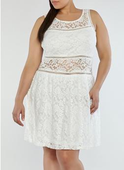 Plus Size Lace Lined Skater Dress - 1822051062648