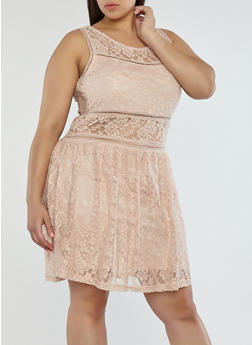 Plus Size Lace Lined Skater Dress - 1822051062648