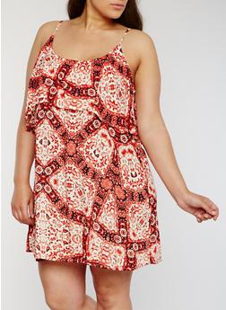 Plus Size Sleeveless Printed Dress with Ruffled Overlay - ORANGE - 1822051062929