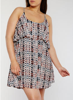 Plus Size Sleeveless Printed Dress with Ruffled Overlay - CORAL - 1822051062929