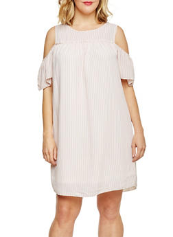 Plus Size Striped Cold Shoulder Shift Dress - BLUSH/WHITE - 1822051063075