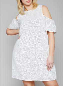 Plus Size Polka Dot Cold Shoulder Dress - 1822051063192