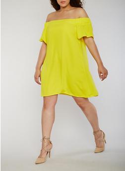Plus Size Solid Short Sleeve Off the Shoulder Dress - 1822051063199