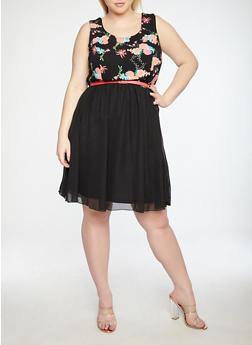 Plus Size Floral Belted Skater Dress - 1822051063521