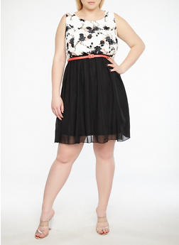 Plus Size Floral Belted Skater Dress - 1822051063521