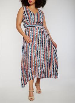 Plus Size Sleeveless Printed Asymmetrical Maxi Dress - NAVY/AQUA - 1822051068298