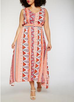 Plus Size Sleeveless Printed Asymmetrical Maxi Dress - ORANGE - 1822051068298