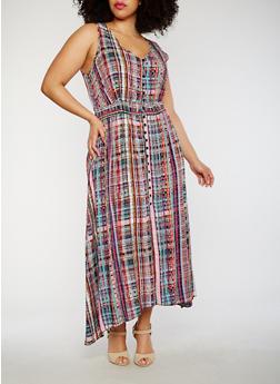 Plus Size Sleeveless Printed Asymmetrical Maxi Dress - MAGENTA - 1822051068298